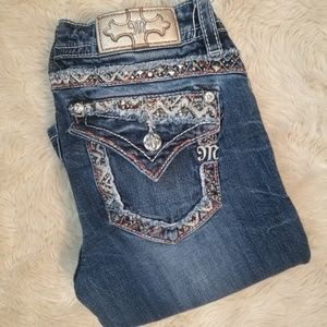 MISS ME Bead & Bling Straight Leg Jeans Size 28